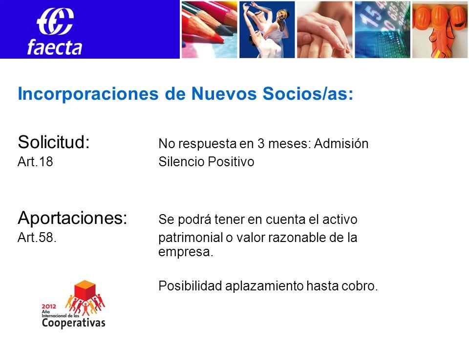 Incorporaciones de Nuevos Socios/as: Solicitud: No respuesta en 3 meses: Admisión Art.18Silencio Positivo Aportaciones: Se podrá tener en cuenta el ac