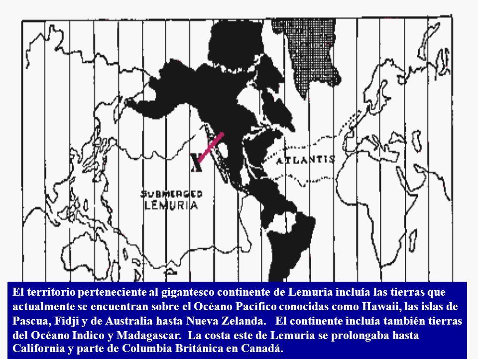 El territorio perteneciente al gigantesco continente de Lemuria incluía las tierras que actualmente se encuentran sobre el Océano Pacífico conocidas como Hawaii, las islas de Pascua, Fidji y de Australia hasta Nueva Zelanda.