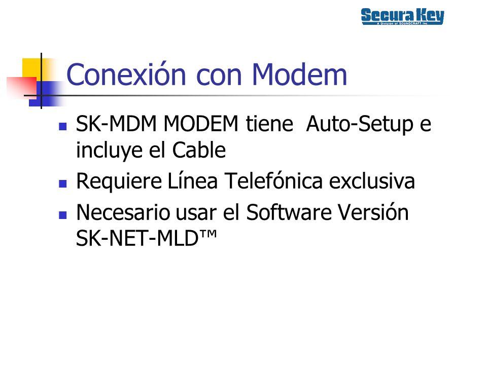 Conexión con Modem SK-MDM MODEM tiene Auto-Setup e incluye el Cable Requiere Línea Telefónica exclusiva Necesario usar el Software Versión SK-NET-MLD