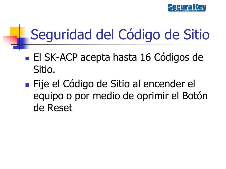 Seguridad del Código de Sitio El SK-ACP acepta hasta 16 Códigos de Sitio. Fije el Código de Sitio al encender el equipo o por medio de oprimir el Botó