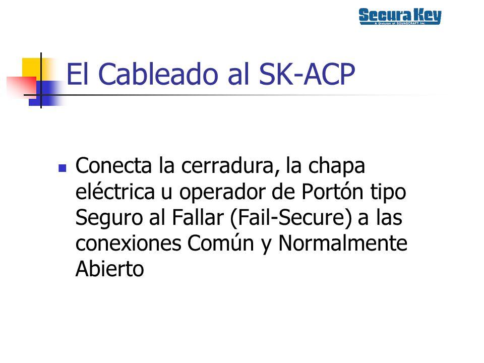 El Cableado al SK-ACP Conecta la cerradura, la chapa eléctrica u operador de Portón tipo Seguro al Fallar (Fail-Secure) a las conexiones Común y Norma