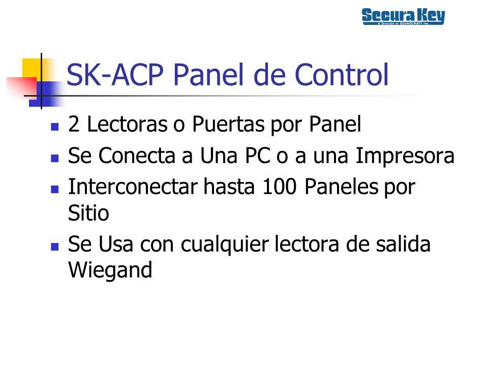 SK-ACP Panel de Control 2 Lectoras o Puertas por Panel Se Conecta a Una PC o a una Impresora Interconectar hasta 100 Paneles por Sitio Se Usa con cual
