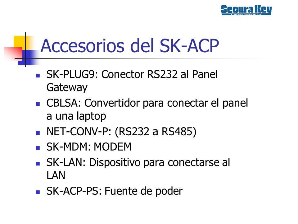 Accesorios del SK-ACP SK-PLUG9: Conector RS232 al Panel Gateway CBLSA: Convertidor para conectar el panel a una laptop NET-CONV-P: (RS232 a RS485) SK-