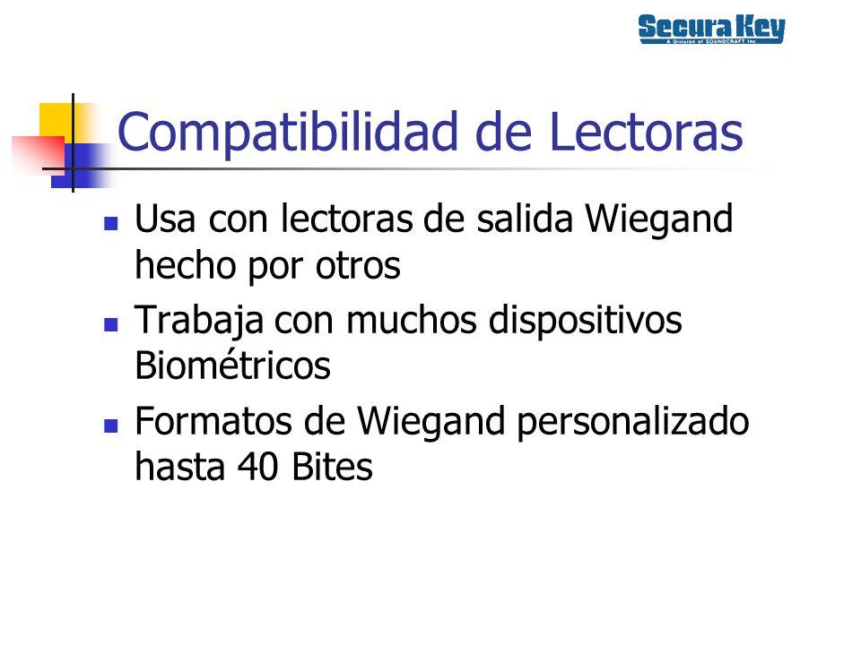 Compatibilidad de Lectoras Usa con lectoras de salida Wiegand hecho por otros Trabaja con muchos dispositivos Biométricos Formatos de Wiegand personal