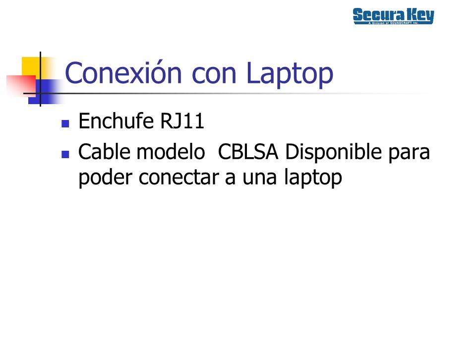 Conexión con Laptop Enchufe RJ11 Cable modelo CBLSA Disponible para poder conectar a una laptop