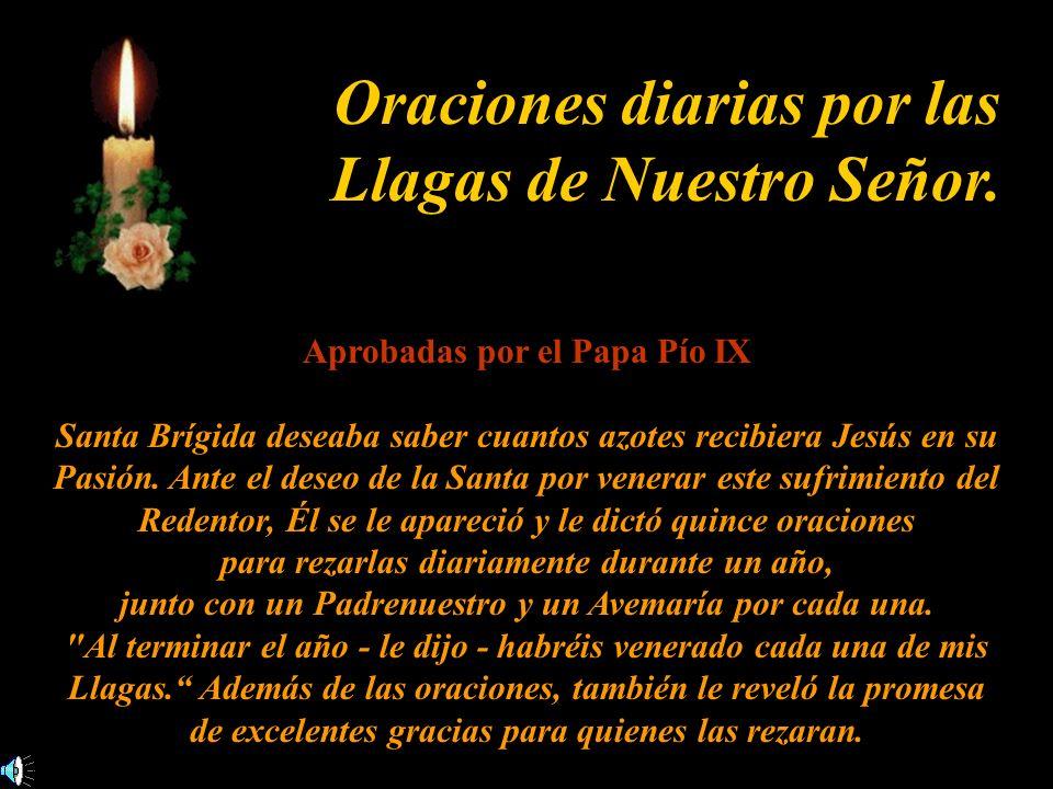 Oraciones diarias por las Llagas de Nuestro Señor. Aprobadas por el Papa Pío IX Santa Brígida deseaba saber cuantos azotes recibiera Jesús en su Pasió