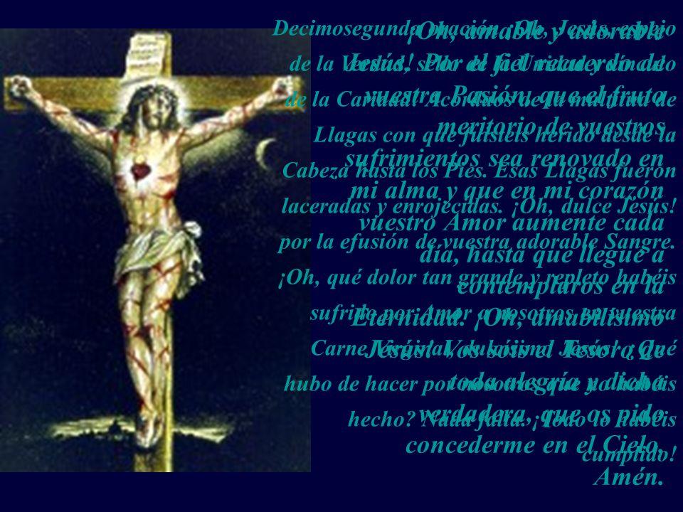 Decimosegunda oración ¡Oh, Jesús, espejo de la Verdad, sello de la Unidad y vínculo de la Caridad! Acordaos de la multitud de Llagas con que fuisteis