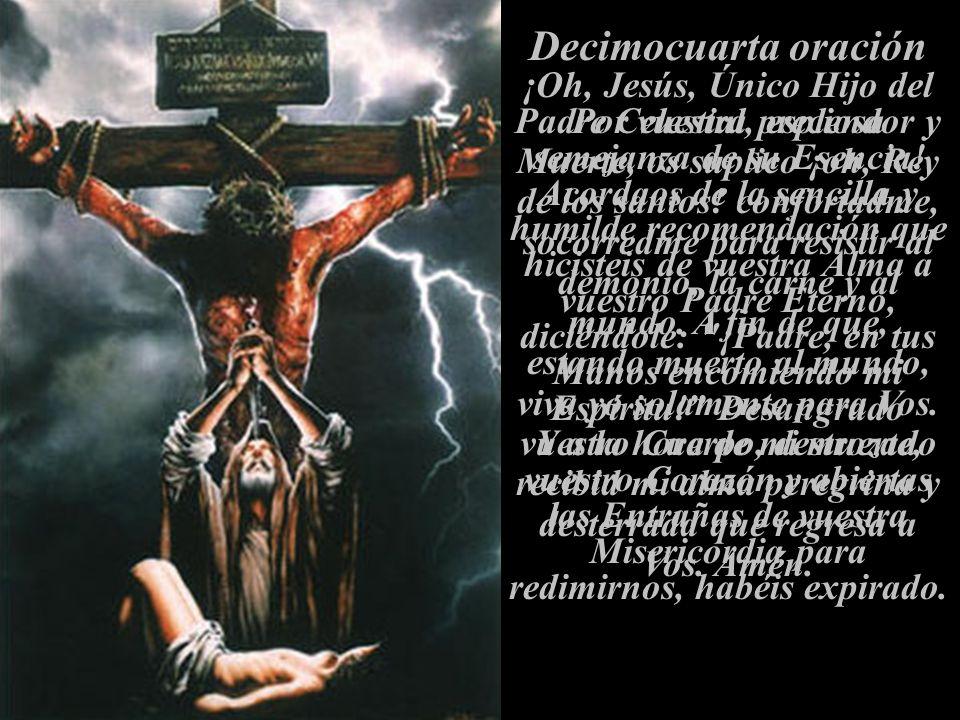Decimocuarta oración ¡Oh, Jesús, Único Hijo del Padre Celestial, esplendor y semejanza de su Esencia! Acordaos de la sencilla y humilde recomendación