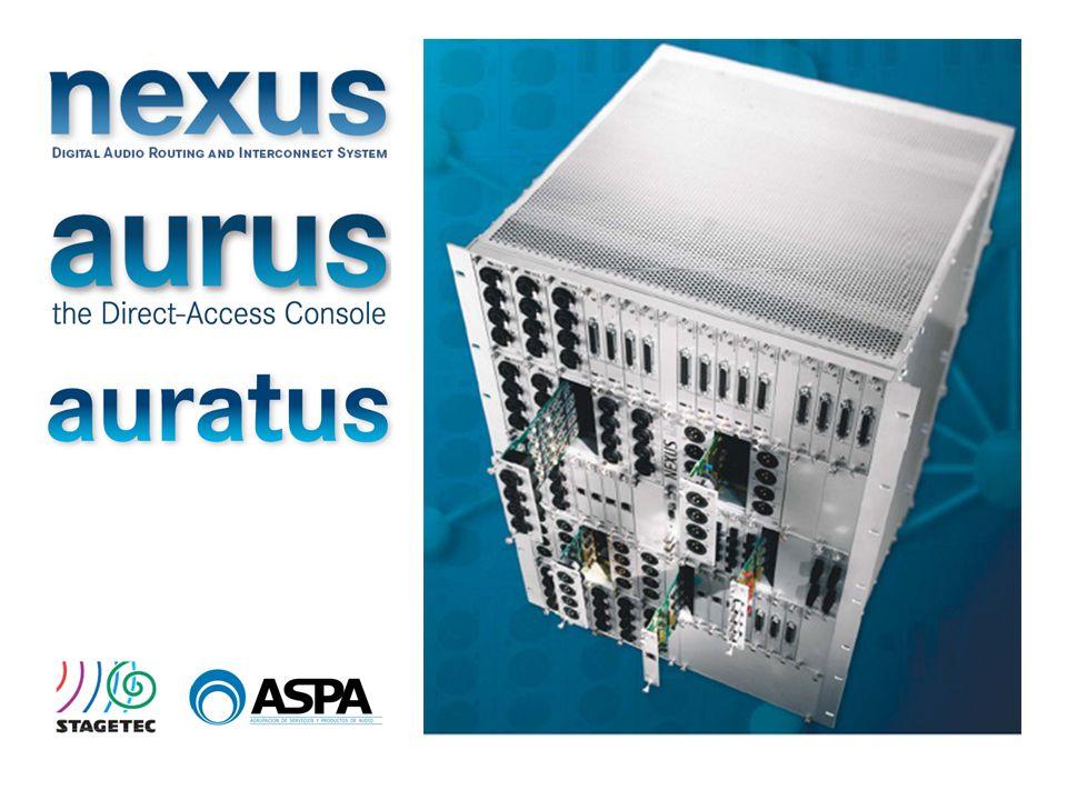La red Nexus es accesible desde las mesas de sonido Aurus, Auratus y Triagon de StageTec