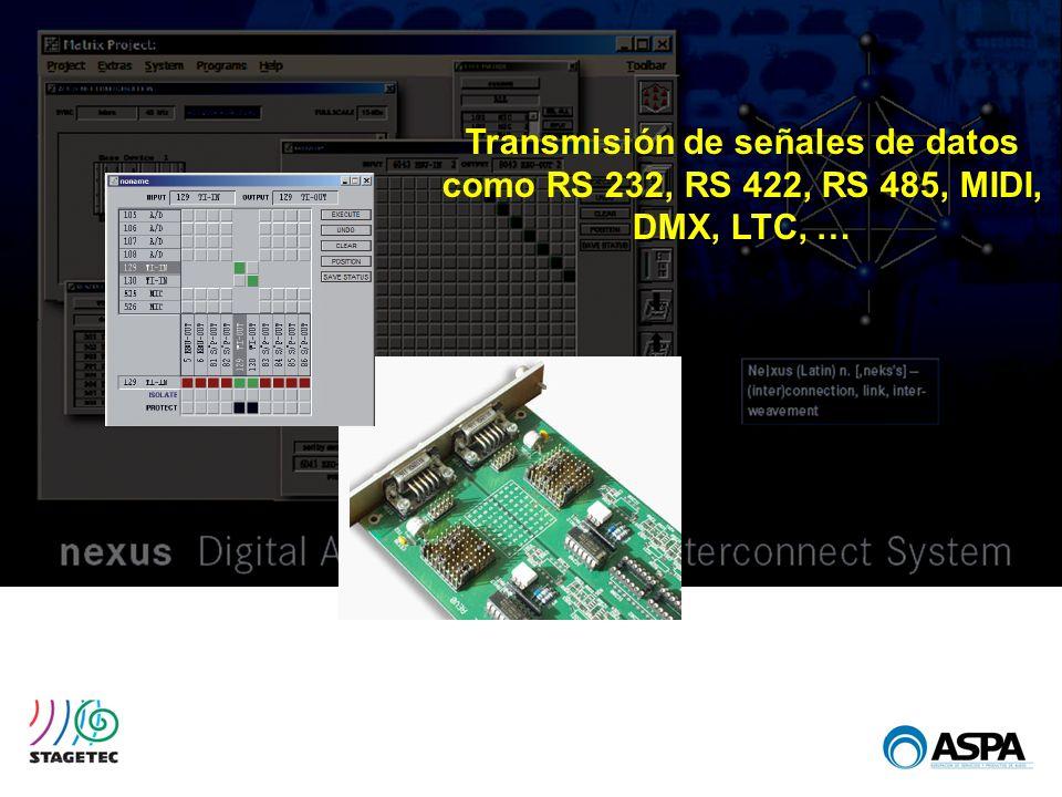 Transmisión de señales de datos como RS 232, RS 422, RS 485, MIDI, DMX, LTC, …