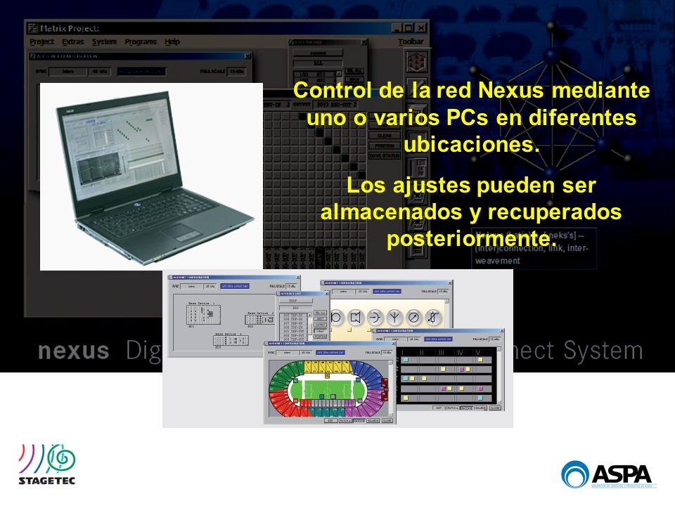 Control de la red Nexus mediante uno o varios PCs en diferentes ubicaciones. Los ajustes pueden ser almacenados y recuperados posteriormente.