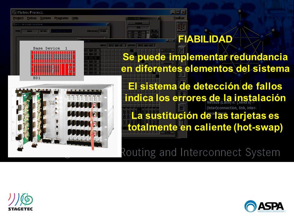 FIABILIDAD Se puede implementar redundancia en diferentes elementos del sistema El sistema de detección de fallos indica los errores de la instalación