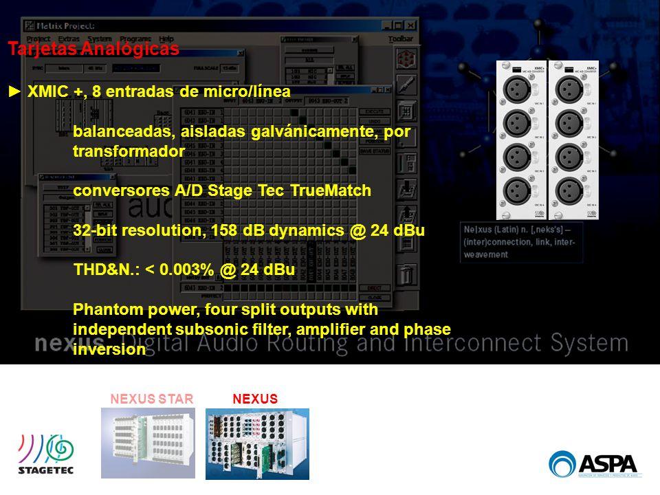 NEXUS STARNEXUS Tarjetas Analógicas XMIC +, 8 entradas de micro/línea balanceadas, aisladas galvánicamente, por transformador conversores A/D Stage Te