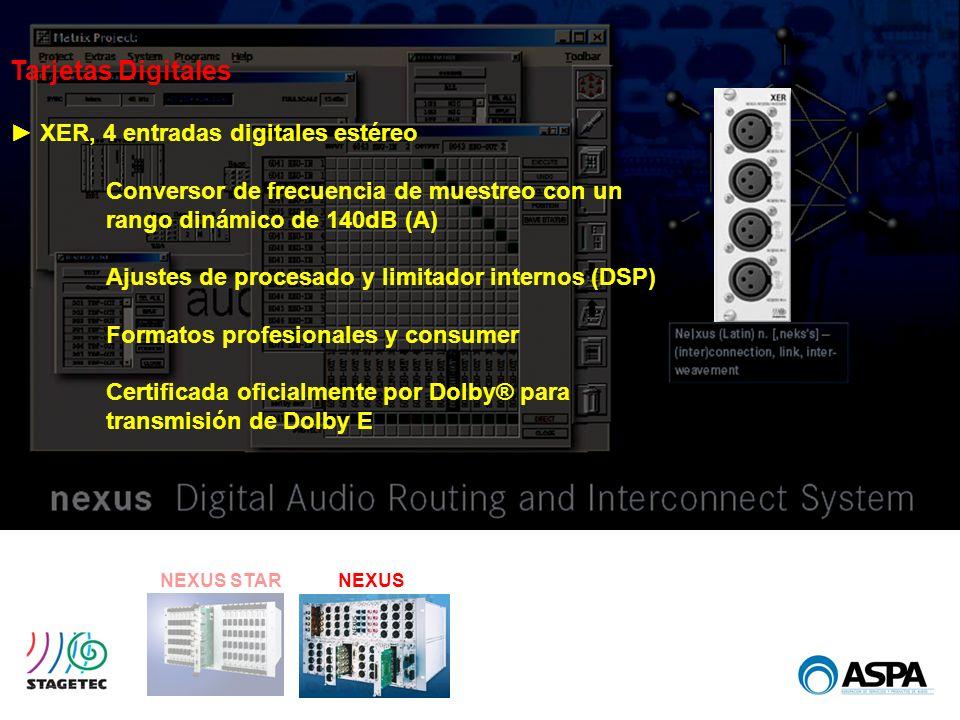 NEXUS STARNEXUS Tarjetas Digitales XER, 4 entradas digitales estéreo Conversor de frecuencia de muestreo con un rango dinámico de 140dB (A) Ajustes de