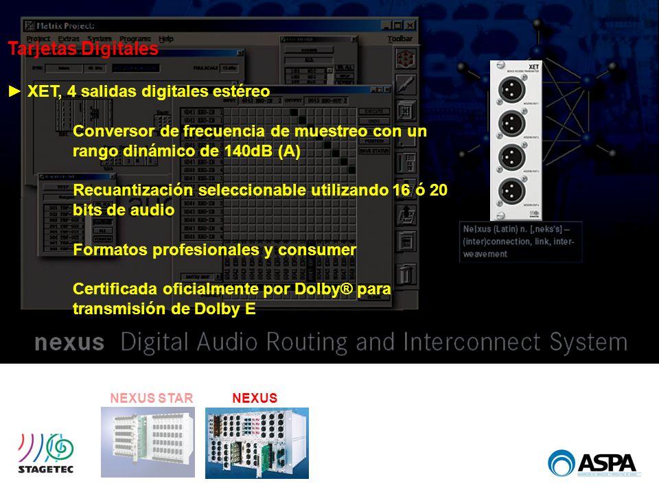 NEXUS STARNEXUS Tarjetas Digitales XET, 4 salidas digitales estéreo Conversor de frecuencia de muestreo con un rango dinámico de 140dB (A) Recuantizac