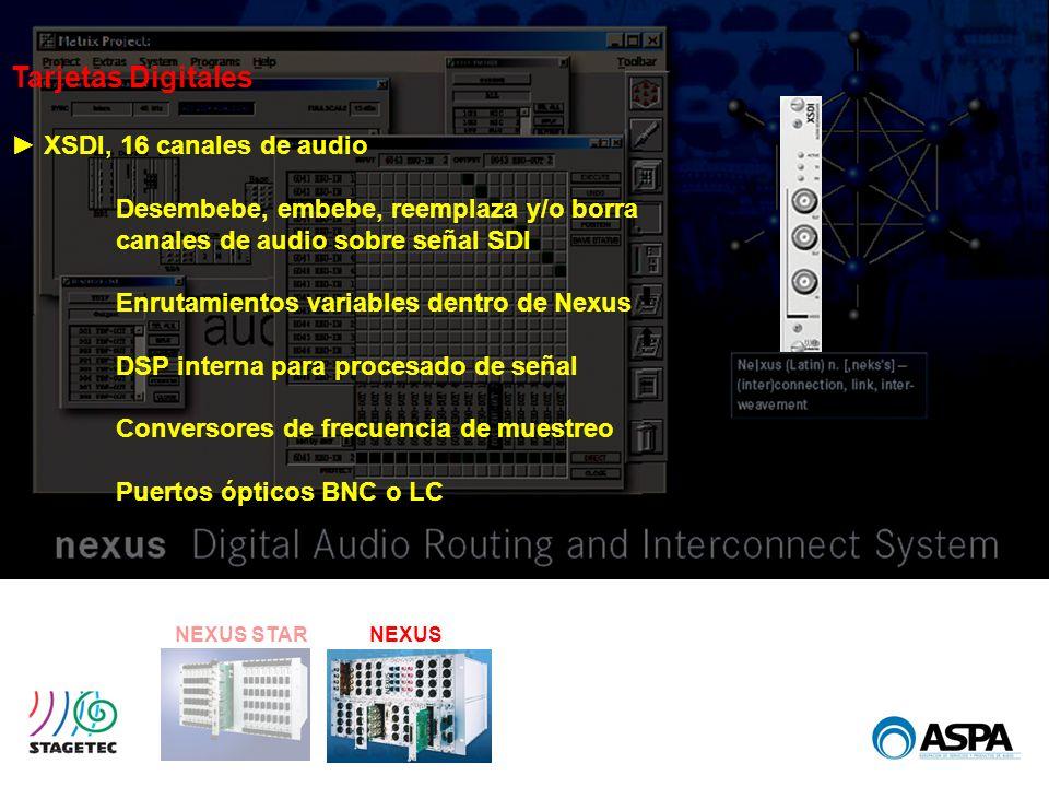 NEXUS STARNEXUS Tarjetas Digitales XSDI, 16 canales de audio Desembebe, embebe, reemplaza y/o borra canales de audio sobre señal SDI Enrutamientos var