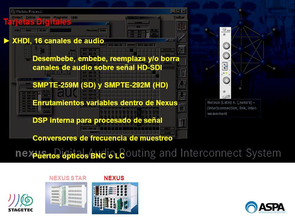 NEXUS STARNEXUS Tarjetas Digitales XHDI, 16 canales de audio Desembebe, embebe, reemplaza y/o borra canales de audio sobre señal HD-SDI SMPTE-259M (SD