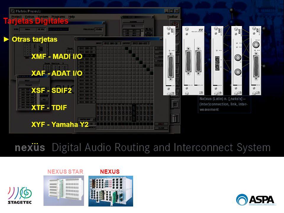 NEXUS STARNEXUS Tarjetas Digitales Otras tarjetas XMF - MADI I/O XAF - ADAT I/O XSF - SDIF2 XTF - TDIF XYF - Yamaha Y2 …