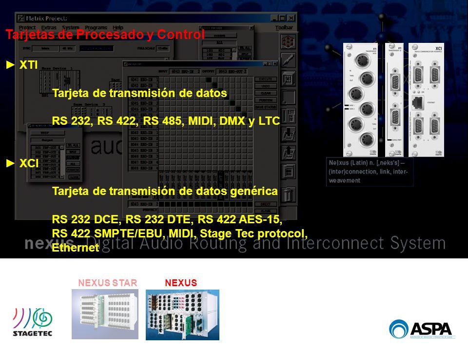 NEXUS STARNEXUS Tarjetas de Procesado y Control XTI Tarjeta de transmisión de datos RS 232, RS 422, RS 485, MIDI, DMX y LTC XCI Tarjeta de transmisión