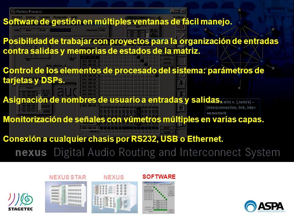 NEXUS STARNEXUS SOFTWARE Software de gestión en múltiples ventanas de fácil manejo. Posibilidad de trabajar con proyectos para la organización de entr