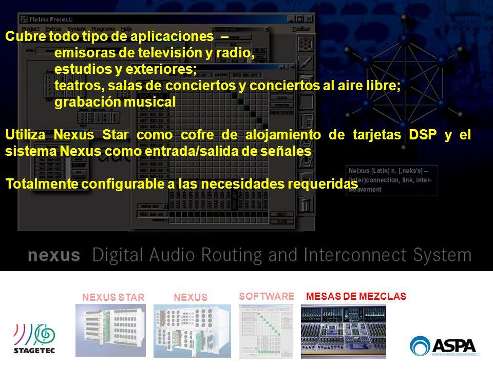 SOFTWARE NEXUS STARNEXUS MESAS DE MEZCLAS Cubre todo tipo de aplicaciones – emisoras de televisión y radio, estudios y exteriores; teatros, salas de c