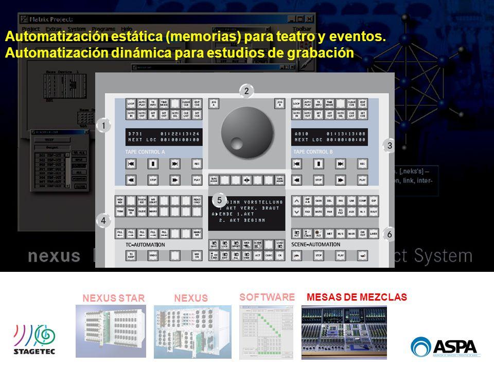 SOFTWARE NEXUS STARNEXUS MESAS DE MEZCLAS Automatización estática (memorias) para teatro y eventos. Automatización dinámica para estudios de grabación
