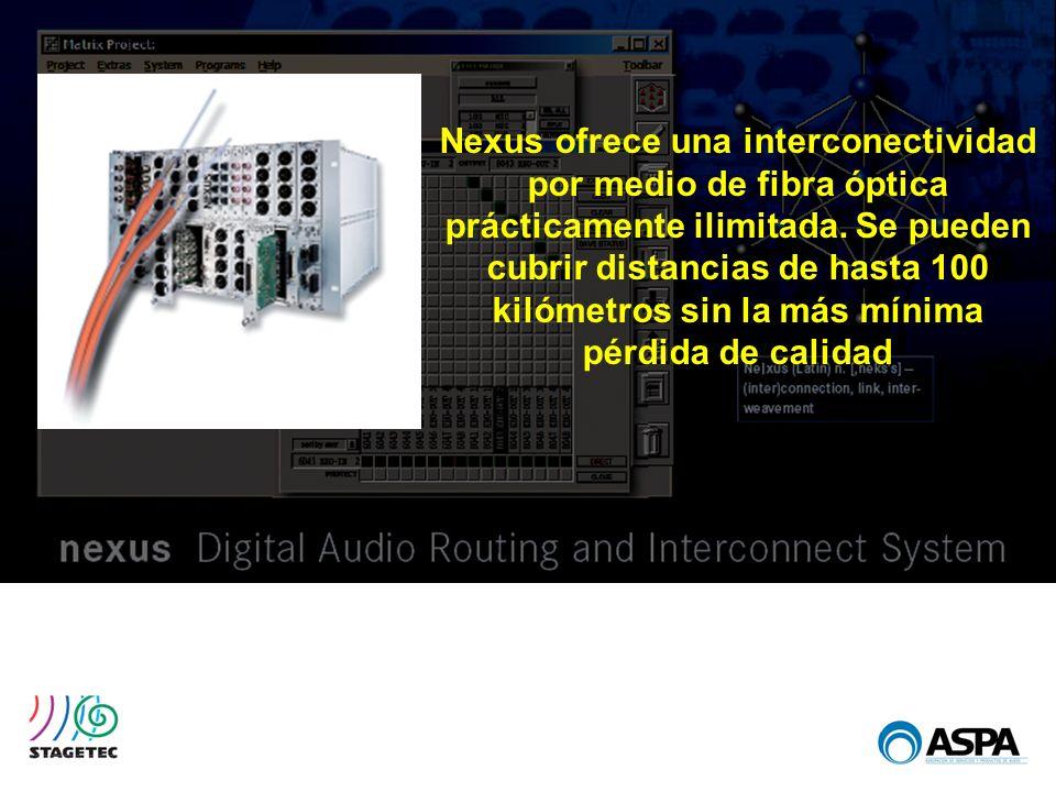 Nexus ofrece una interconectividad por medio de fibra óptica prácticamente ilimitada. Se pueden cubrir distancias de hasta 100 kilómetros sin la más m
