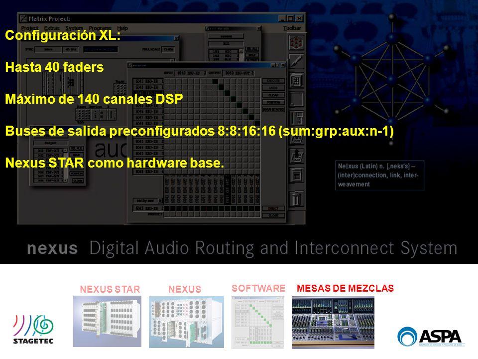 SOFTWARE NEXUS STARNEXUS MESAS DE MEZCLAS Configuración XL: Hasta 40 faders Máximo de 140 canales DSP Buses de salida preconfigurados 8:8:16:16 (sum:g