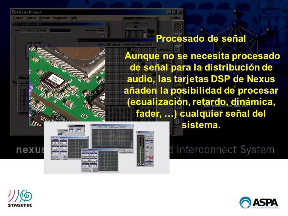 Procesado de señal Aunque no se necesita procesado de señal para la distribución de audio, las tarjetas DSP de Nexus añaden la posibilidad de procesar