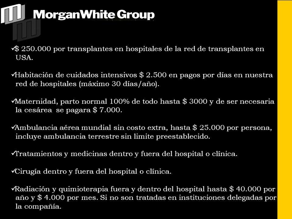 $ 250.000 por transplantes en hospitales de la red de transplantes en USA. Habitación de cuidados intensivos $ 2.500 en pagos por días en nuestra red