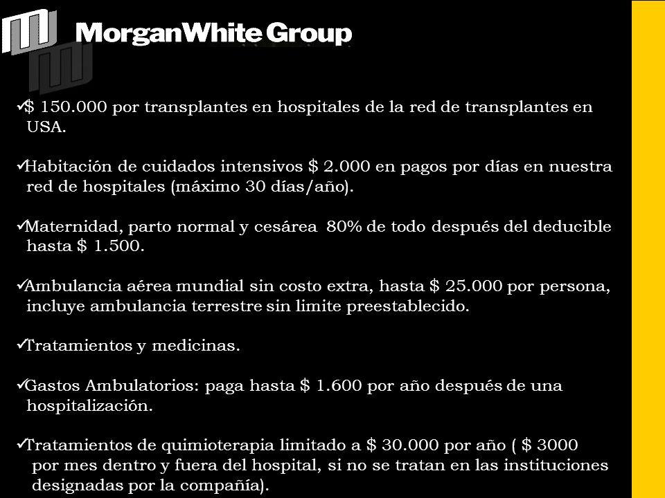 $ 150.000 por transplantes en hospitales de la red de transplantes en USA. Habitación de cuidados intensivos $ 2.000 en pagos por días en nuestra red