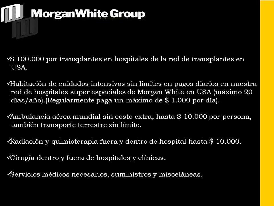 $ 100.000 por transplantes en hospitales de la red de transplantes en USA.