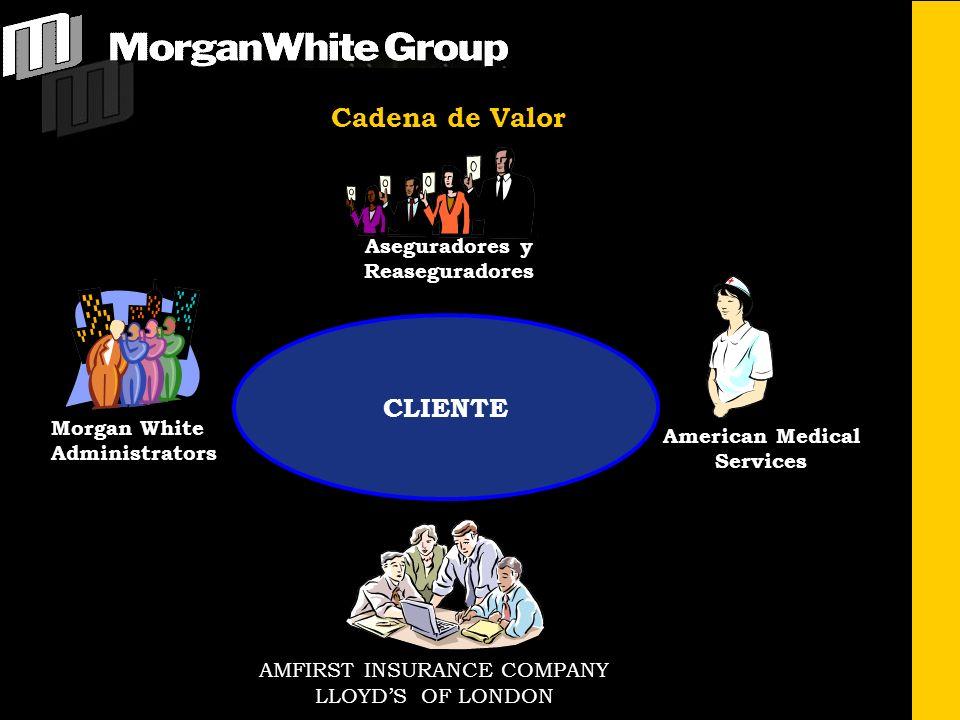Aseguradores y Reaseguradores Morgan White Administrators American Medical Services AMFIRST INSURANCE COMPANY LLOYDS OF LONDON CLIENTE Cadena de Valor