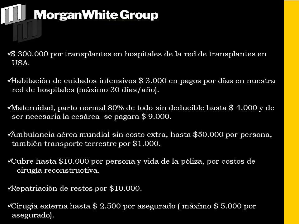 $ 300.000 por transplantes en hospitales de la red de transplantes en USA. Habitación de cuidados intensivos $ 3.000 en pagos por días en nuestra red