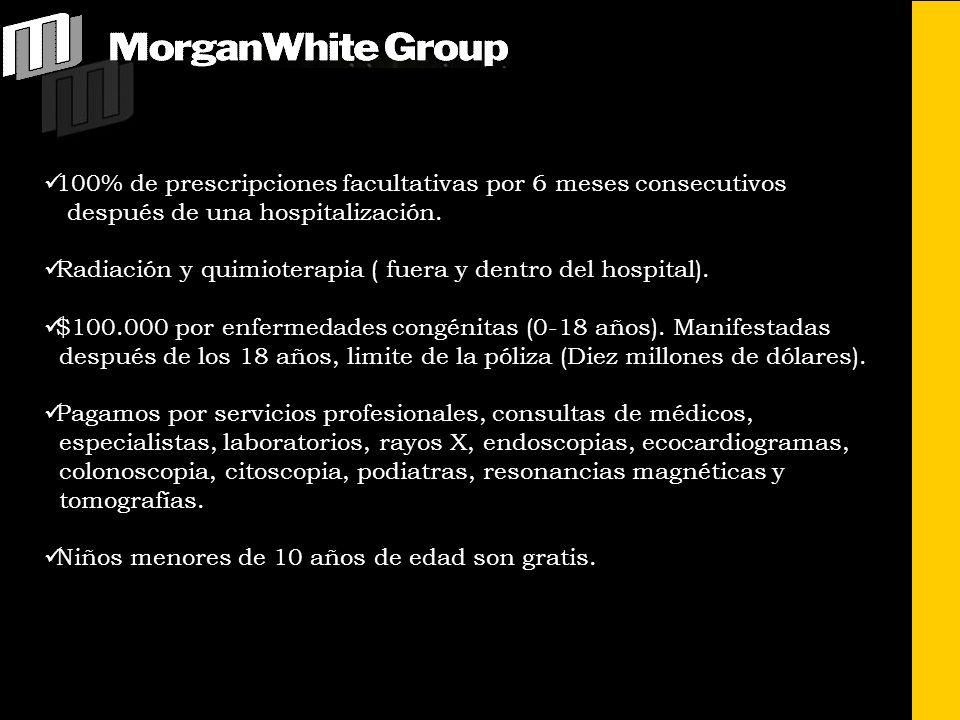Para mayor información acerca de nuestros productos consulte a nuestro representante local o dirijase a: MORGAN-WHITE ADMINISTRATORS INTERNATIONAL, INC.