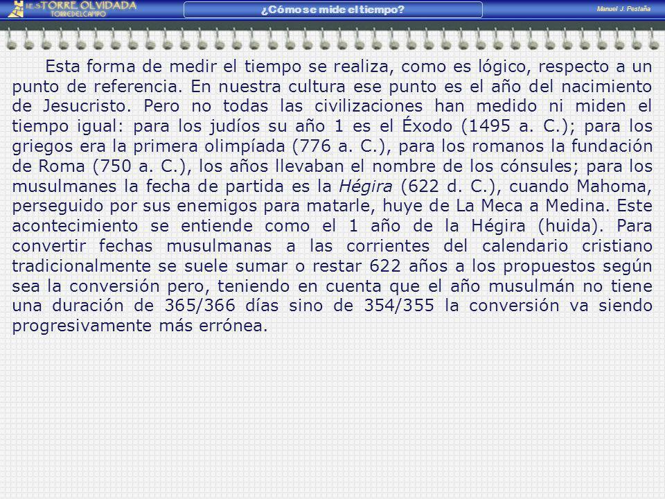 Manuel J. Pestaña ¿Cómo se mide el tiempo? Esta forma de medir el tiempo se realiza, como es lógico, respecto a un punto de referencia. En nuestra cul