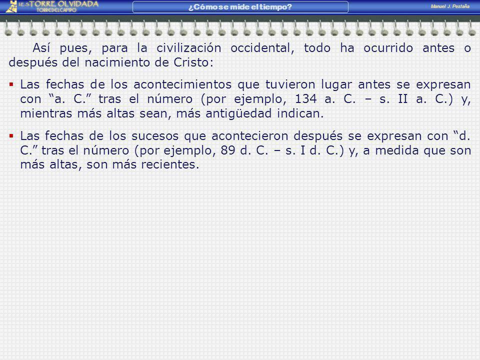 Manuel J. Pestaña ¿Cómo se mide el tiempo? Así pues, para la civilización occidental, todo ha ocurrido antes o después del nacimiento de Cristo: Las f