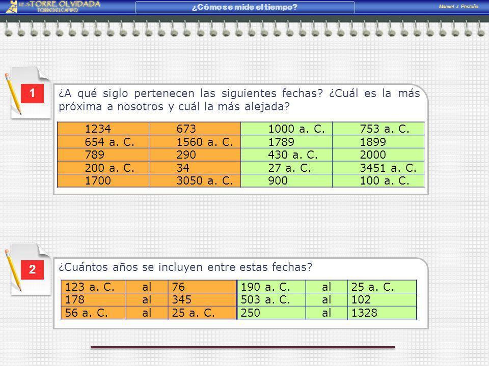 Manuel J. Pestaña ¿Cómo se mide el tiempo? ¿A qué siglo pertenecen las siguientes fechas? ¿Cuál es la más próxima a nosotros y cuál la más alejada? 1