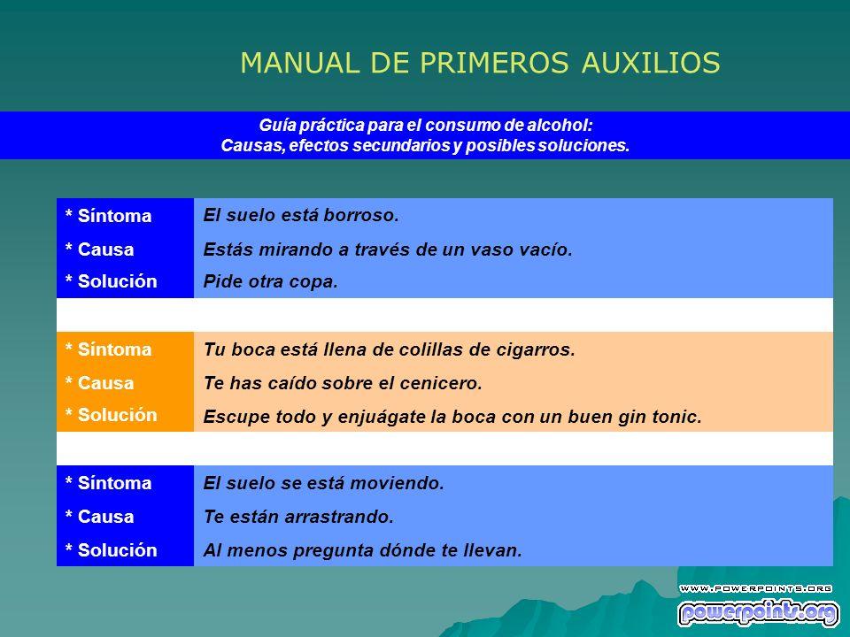 MANUAL DE PRIMEROS AUXILIOS Guía práctica para el consumo de alcohol: Causas, efectos secundarios y posibles soluciones. * Síntoma El suelo está borro