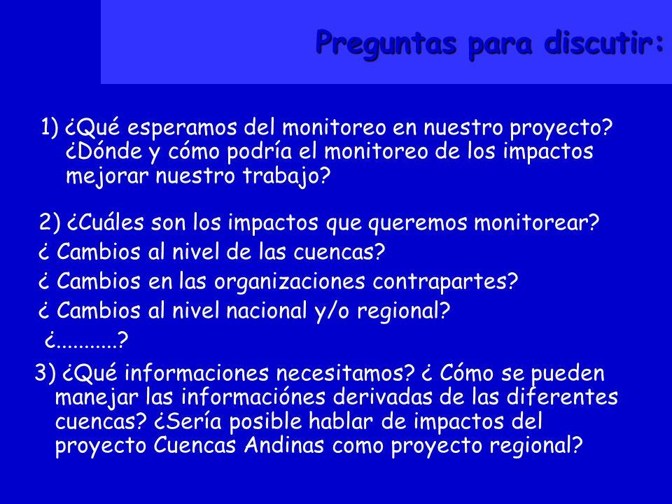 Preguntas para discutir: 1) ¿Qué esperamos del monitoreo en nuestro proyecto.