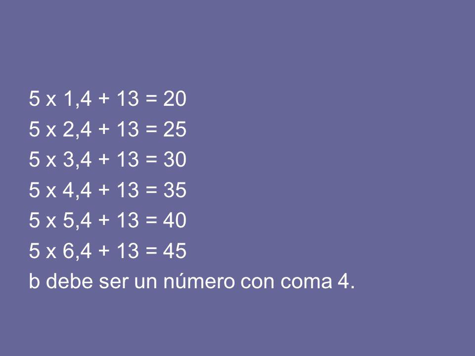 5 x 1,4 + 13 = 20 5 x 2,4 + 13 = 25 5 x 3,4 + 13 = 30 5 x 4,4 + 13 = 35 5 x 5,4 + 13 = 40 5 x 6,4 + 13 = 45 b debe ser un número con coma 4.