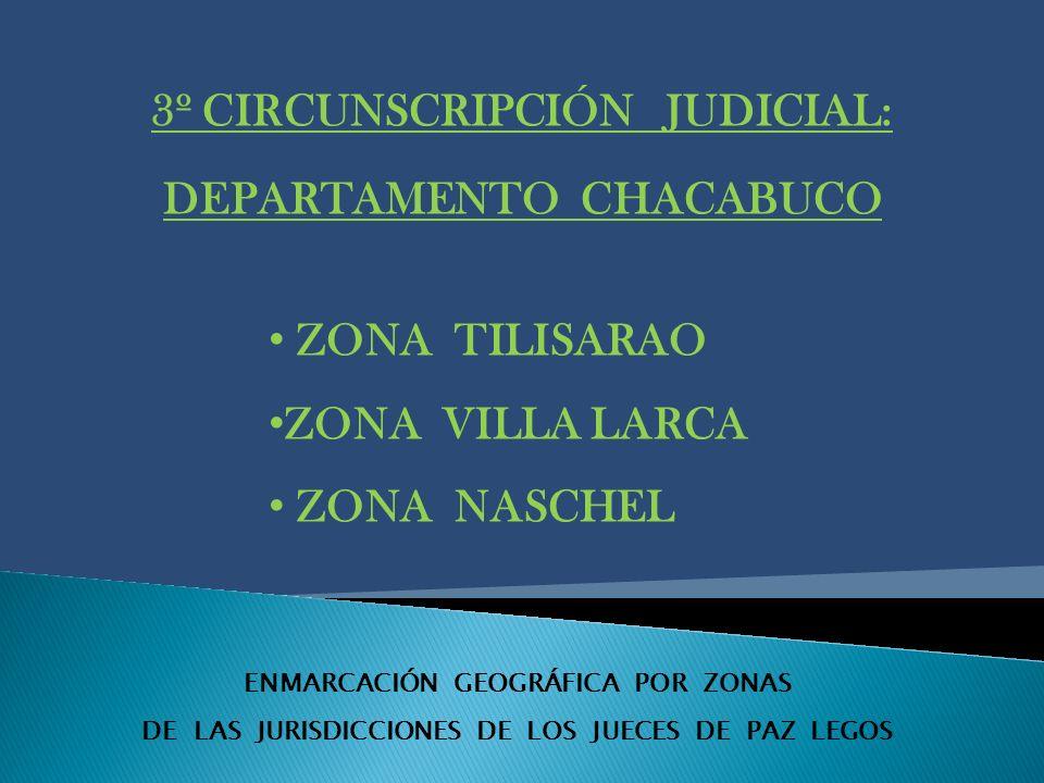 ENMARCACIÓN GEOGRÁFICA POR ZONAS DE LAS JURISDICCIONES DE LOS JUECES DE PAZ LEGOS 3º CIRCUNSCRIPCIÓN JUDICIAL: DEPARTAMENTO CHACABUCO ZONA TILISARAO ZONA VILLA LARCA ZONA NASCHEL