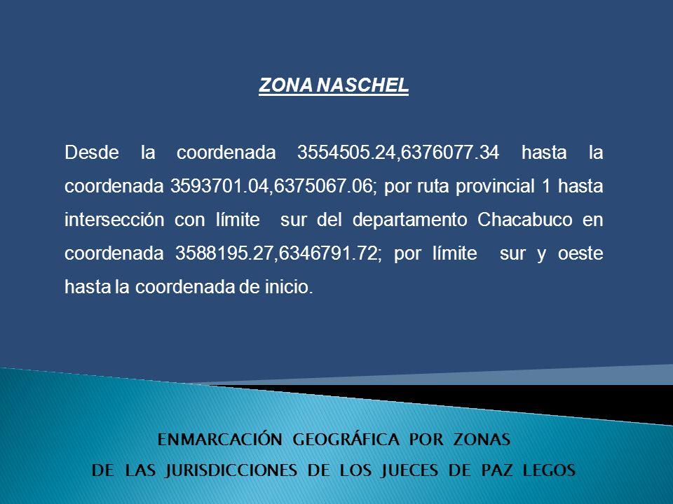 ENMARCACIÓN GEOGRÁFICA POR ZONAS DE LAS JURISDICCIONES DE LOS JUECES DE PAZ LEGOS ZONA NASCHEL Desde la coordenada 3554505.24,6376077.34 hasta la coordenada 3593701.04,6375067.06; por ruta provincial 1 hasta intersección con límite sur del departamento Chacabuco en coordenada 3588195.27,6346791.72; por límite sur y oeste hasta la coordenada de inicio.