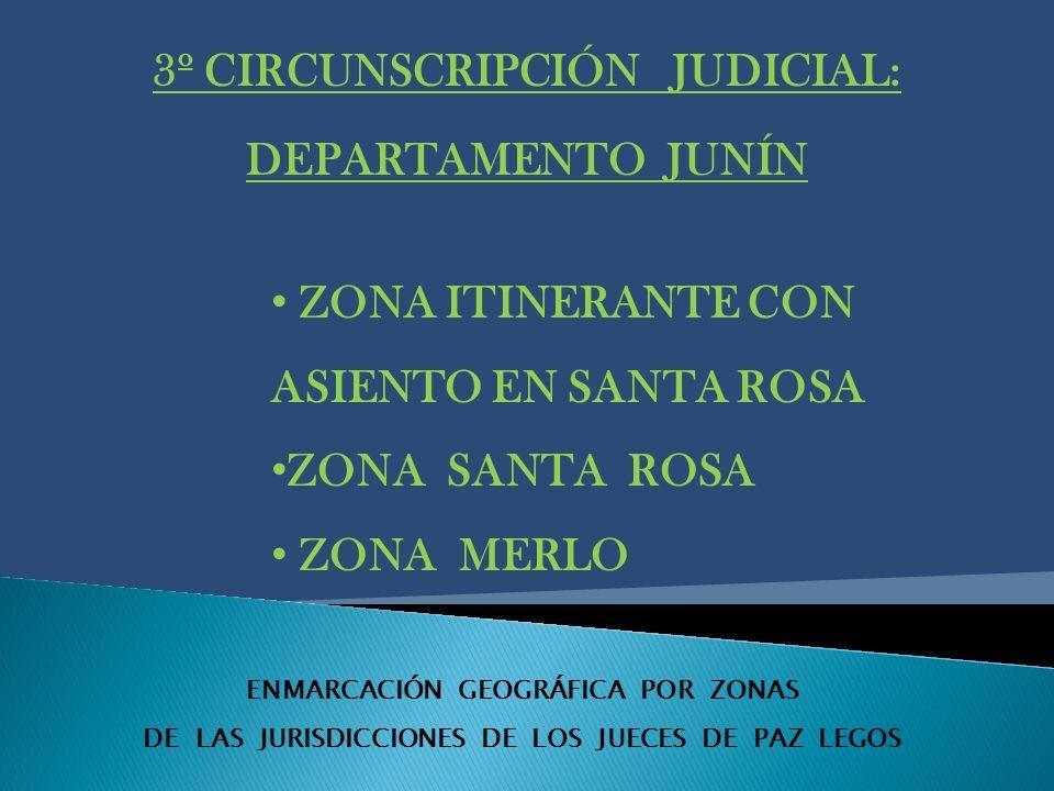 ENMARCACIÓN GEOGRÁFICA POR ZONAS DE LAS JURISDICCIONES DE LOS JUECES DE PAZ LEGOS 3º CIRCUNSCRIPCIÓN JUDICIAL: DEPARTAMENTO JUNÍN ZONA ITINERANTE CON ASIENTO EN SANTA ROSA ZONA SANTA ROSA ZONA MERLO