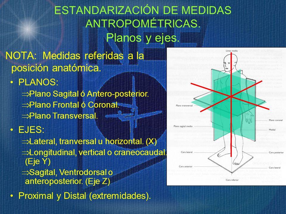 NOTA: Medidas referidas a la posición anatómica. ESTANDARIZACIÓN DE MEDIDAS ANTROPOMÉTRICAS. Planos y ejes. EJES: Lateral, tranversal u horizontal. (X