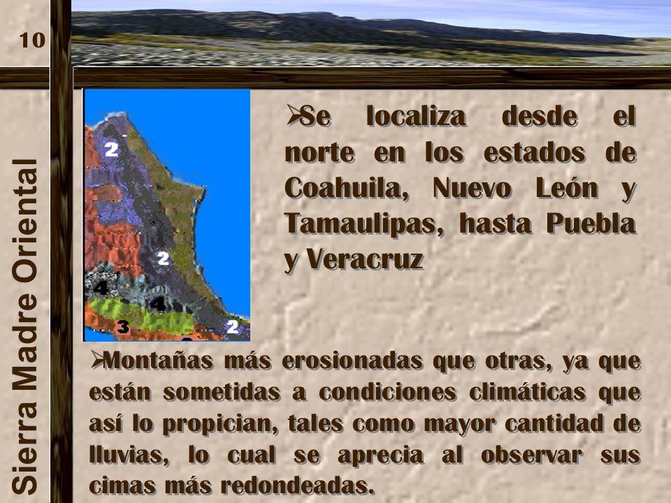 Sierra Madre Occidental Las características geológicas permitieron la formación de espectaculares cañones, como el de la Barranca del Cobre. Las carac