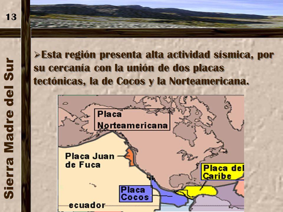 Sierra Madre del Sur Se forma por las montañas del centro y las del pacífico, se localiza desde Bahía Banderas, en Jalisco hasta el Istmo de Tehuantep