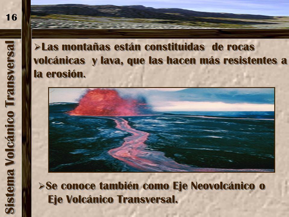 Sistema Volcánico Transversal Es considerado como la división fisiográfica entre A. del Norte y Centroamérica (desde 1940), constituye una frontera cl