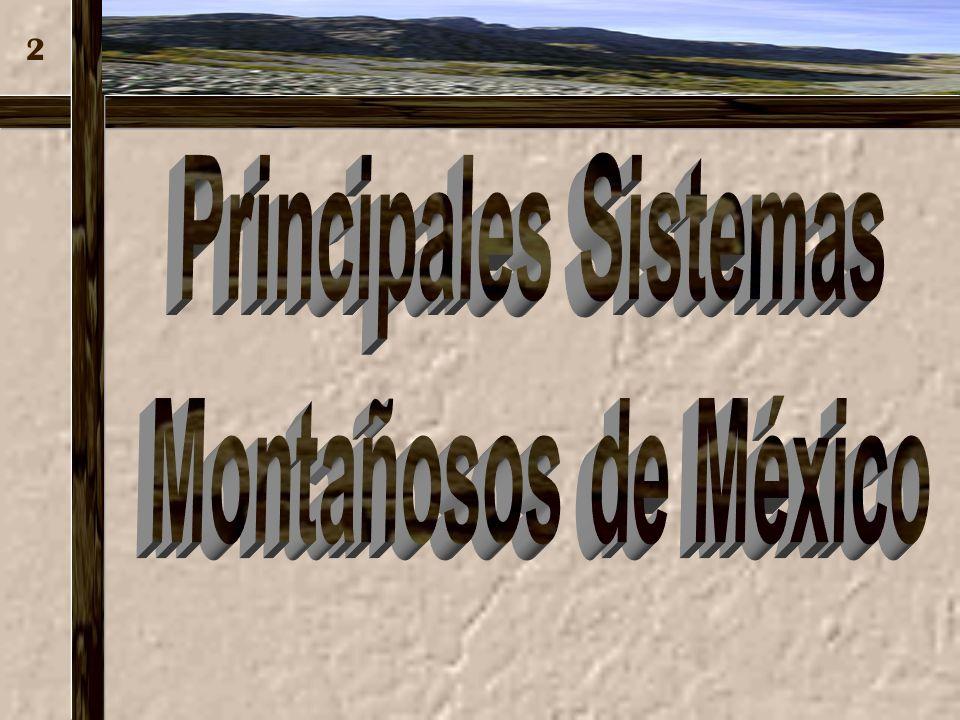 GEOGRAFÍA DE MÉXICO GEOGRAFÍA DE MÉXICO BLOQUE 2. MORFOLOGÍA DEL TERRITORIO NACIONAL BLOQUE 2. MORFOLOGÍA DEL TERRITORIO NACIONAL TEMA 2.3 PRINCIPALES