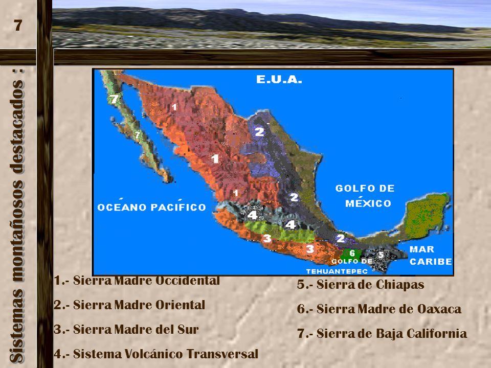 Sistemas montañosos destacados : Sistemas montañosos destacados : 1.- Sierra Madre Occidental 2.- Sierra Madre Oriental 3.- Sierra Madre del Sur 4.- S